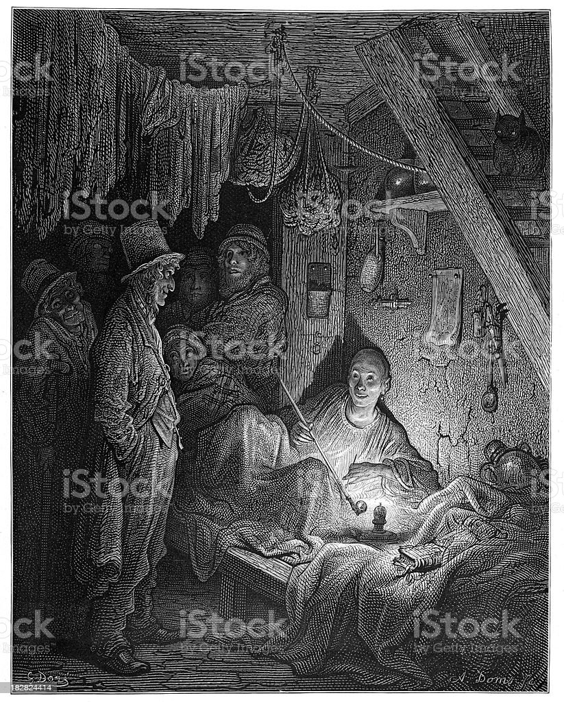 Victorian London - An Opium Den vector art illustration