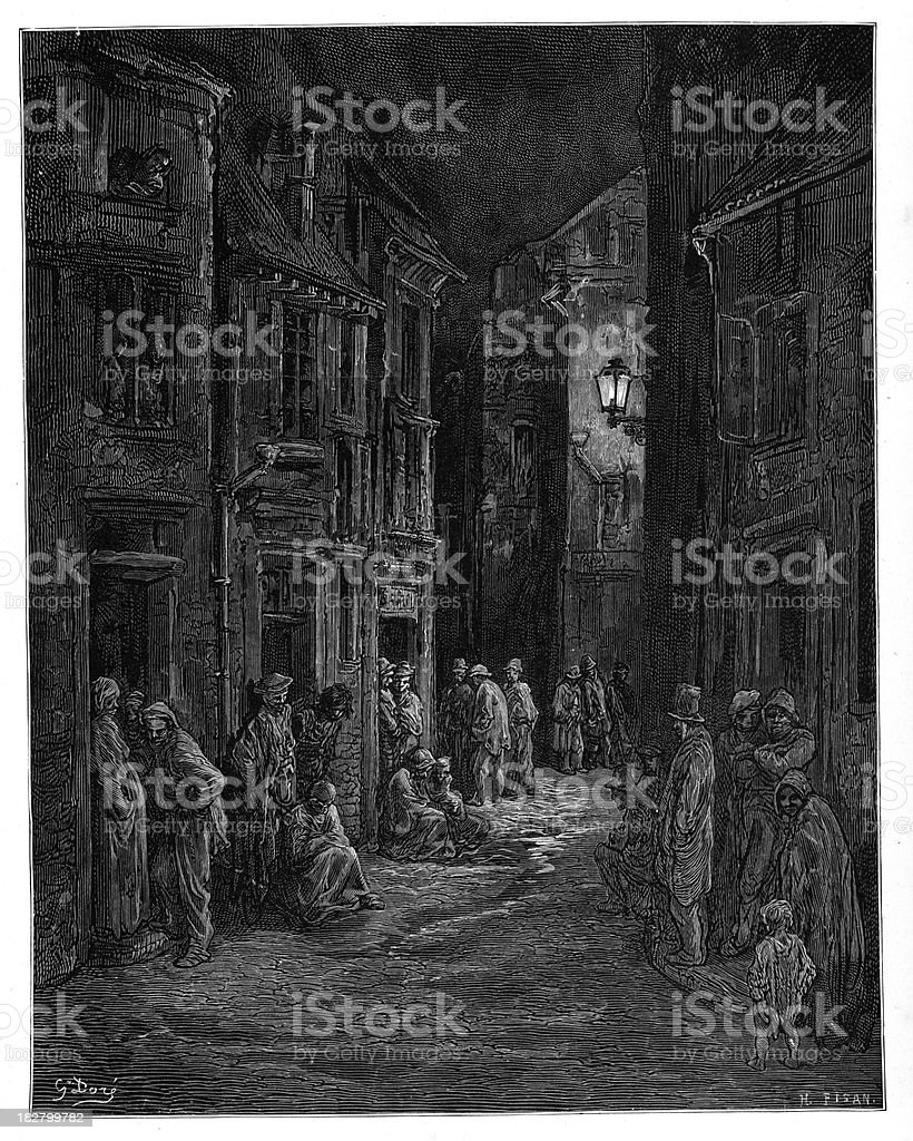 Victorian London - Bluegate Fields royalty-free stock vector art
