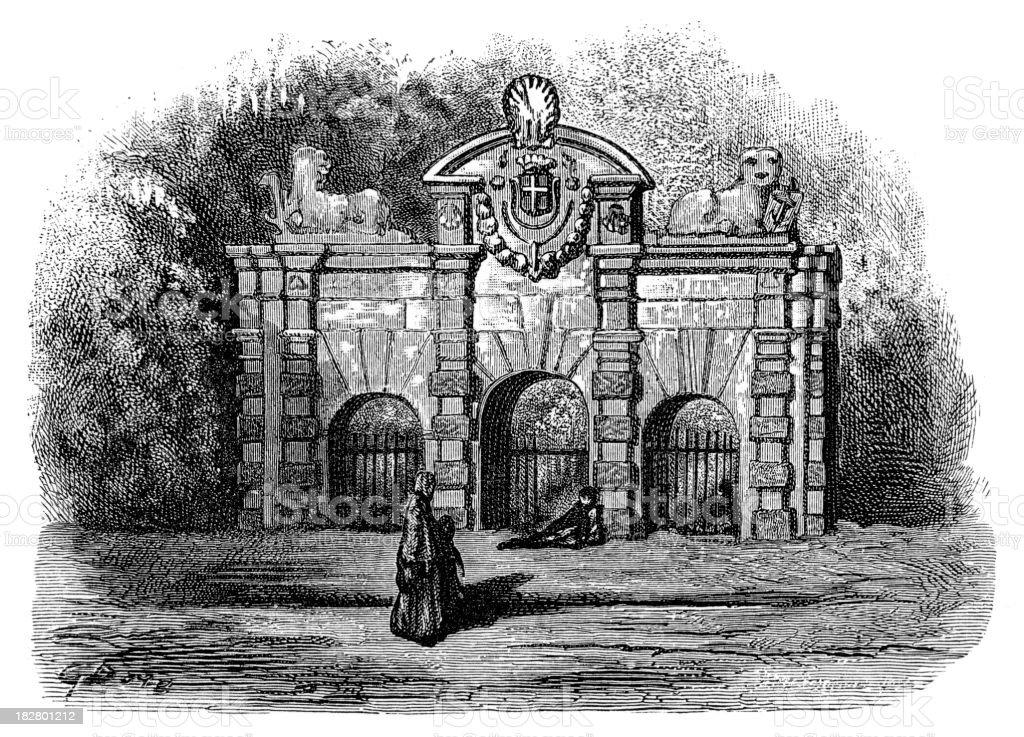 Victorian London - Buckingham Gate royalty-free stock vector art