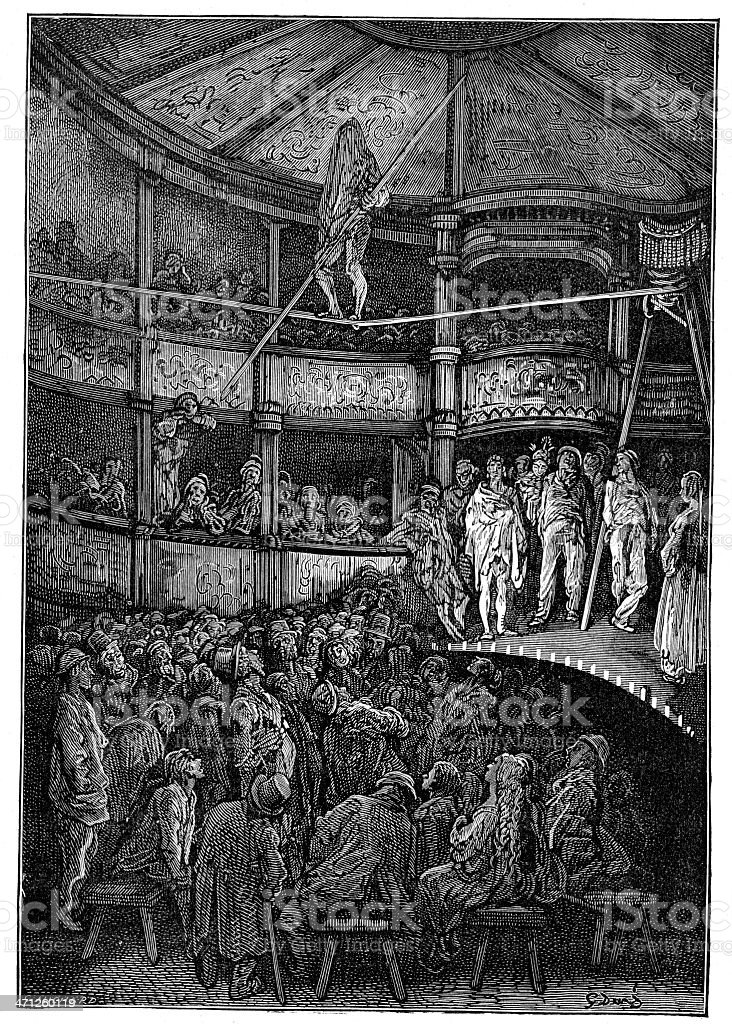 Victorian London - Charles Blondin at Shoreditch royalty-free stock vector art