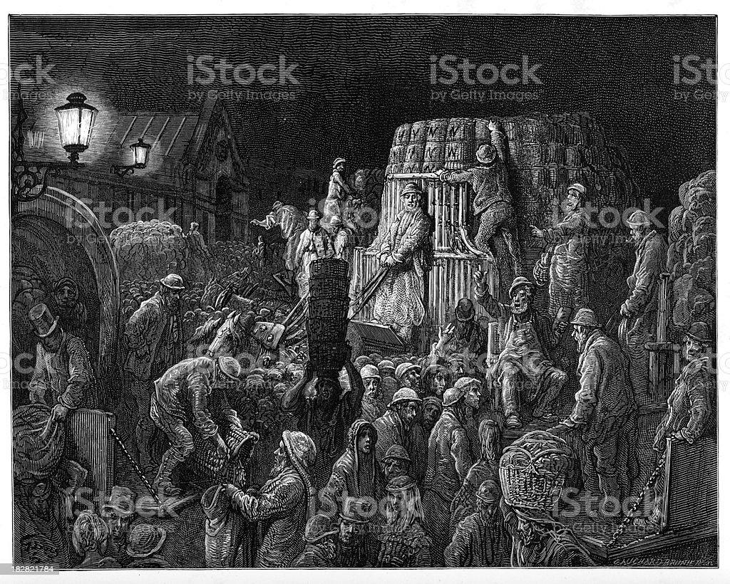 Victorian London - Covent Garden Market royalty-free stock vector art