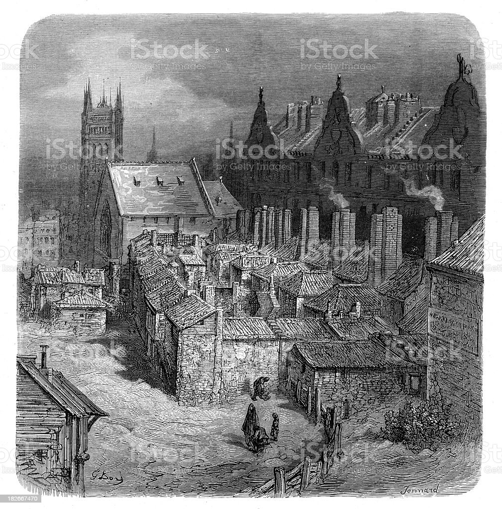 Victorian London - Devil's Acre Westminster vector art illustration