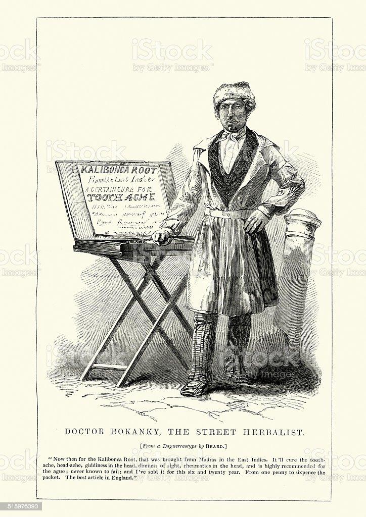 Victorian London Doctor Bokanky, The Street Herbalist vector art illustration
