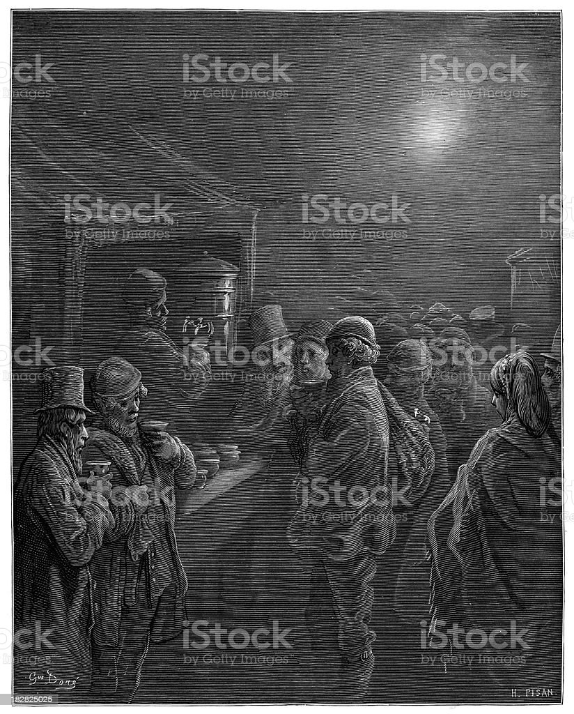 Victorian London - Early morning coffee stall royalty-free stock vector art