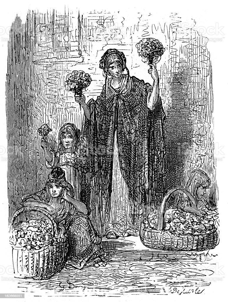 Victorian London - Flower Girls vector art illustration