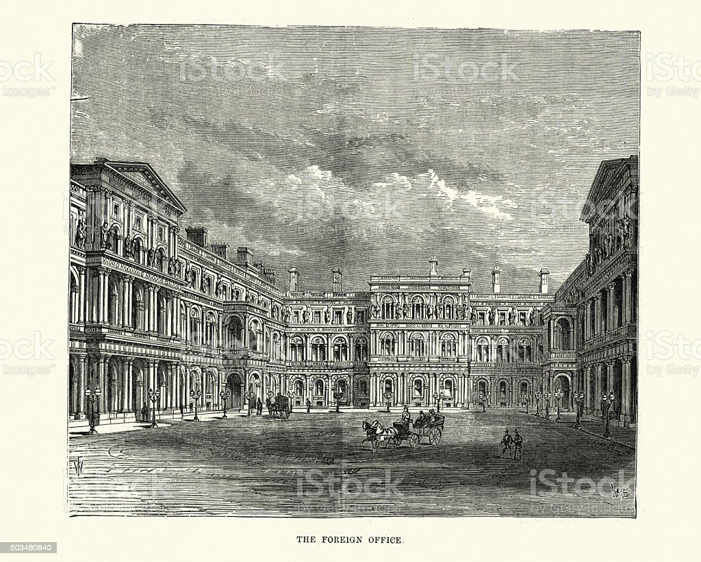 Victorian London - Foreign and Commonwealth Office vector art illustration