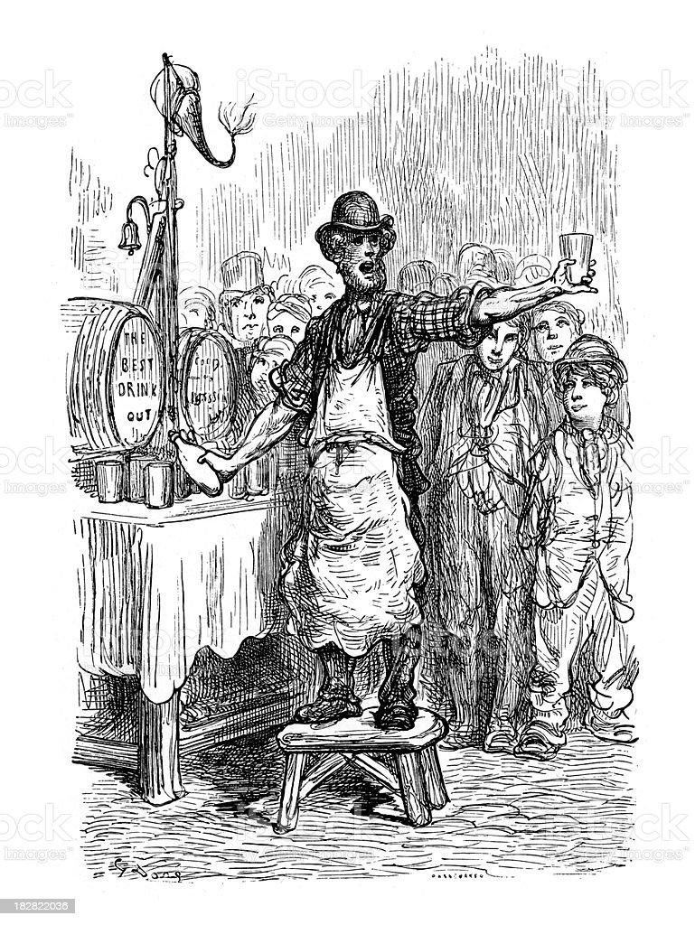 Victorian London - Ginger Beer Man vector art illustration
