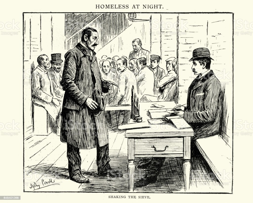 Victorian London, Homeless men applying for shelter vector art illustration