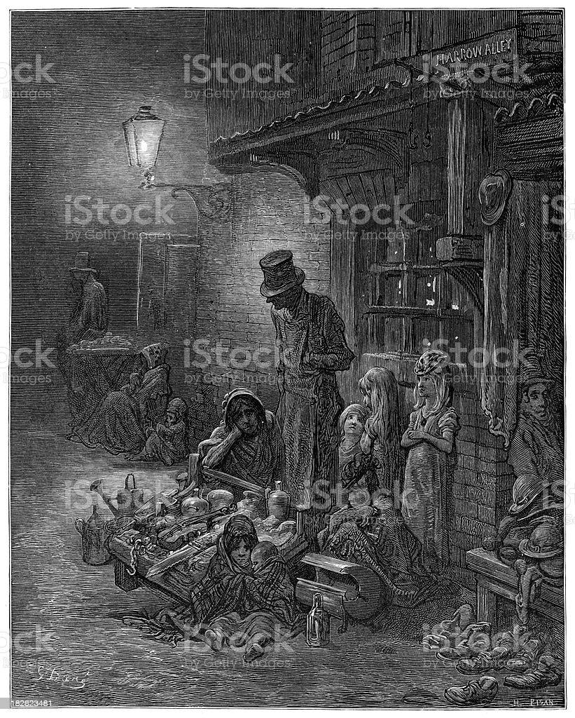 Victorian London - Houndsditch royalty-free stock vector art