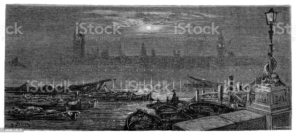 Victorian London - Houses of Parliament by Night royalty-free stock vector art