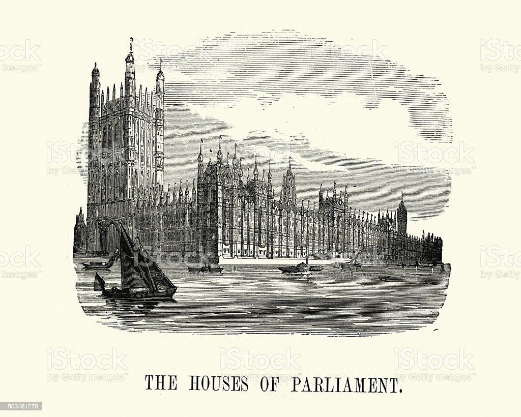 Victorian London - Houses of Parliament vector art illustration