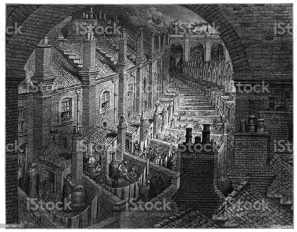Victorian London Housing vector art illustration