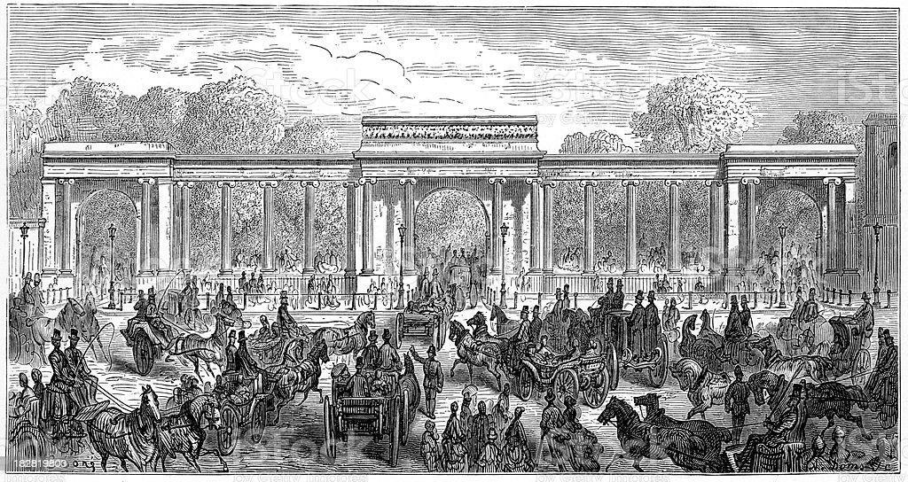 Victorian London - Hyde Park Corner royalty-free stock vector art