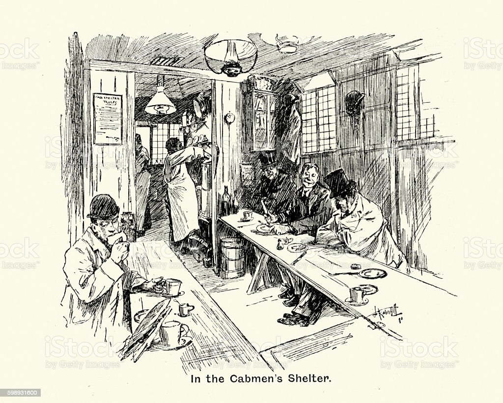 Victorian London, In the Cabmen's Shelter, 1894 vector art illustration