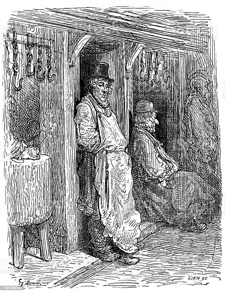 Victorian London - Jewish Butchers royalty-free stock vector art