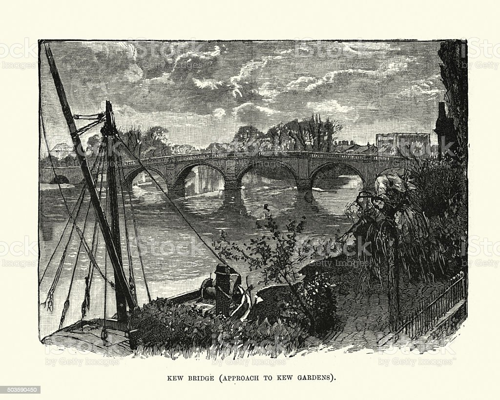 Victorian London - Kew Bridge vector art illustration