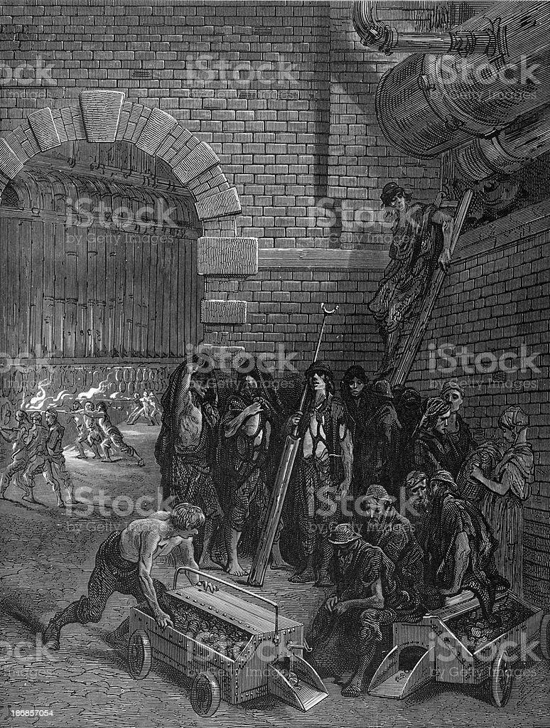 Victorian London - Lambeth Gas Works royalty-free stock vector art
