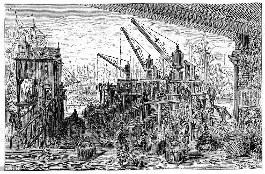 Victorian London - Limehouse Dock royalty-free stock vector art