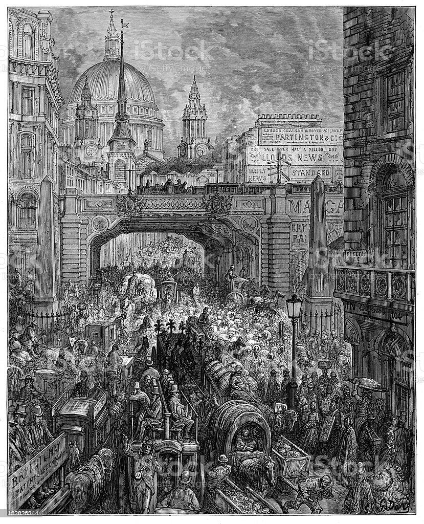 Victorian London - Ludgate Hill vector art illustration