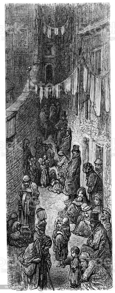 Victorian London - Orange Court Drury Lane royalty-free stock vector art