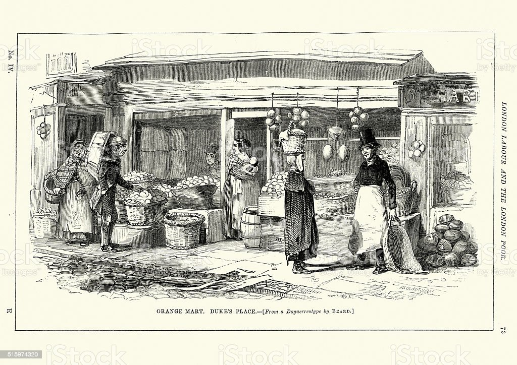 Victorian London Orange Market at Duke's Place vector art illustration