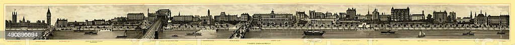 Victorian London - Panorama of the Thames Embankment vector art illustration