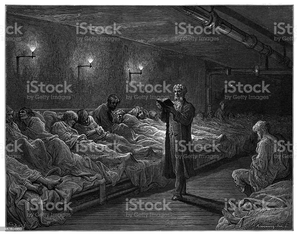 Victorian London - Scripture Reader in a Night Refuge royalty-free stock vector art