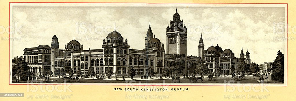 Victorian London - South Kensington Museum vector art illustration