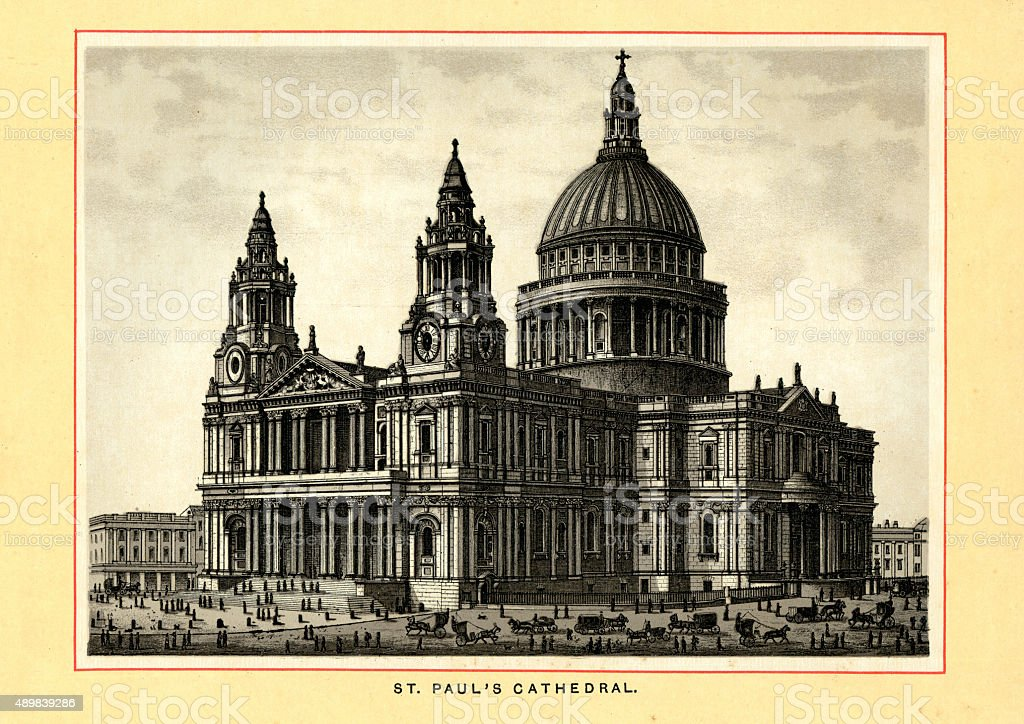 Victorian London - St Paul's Cathedral vector art illustration