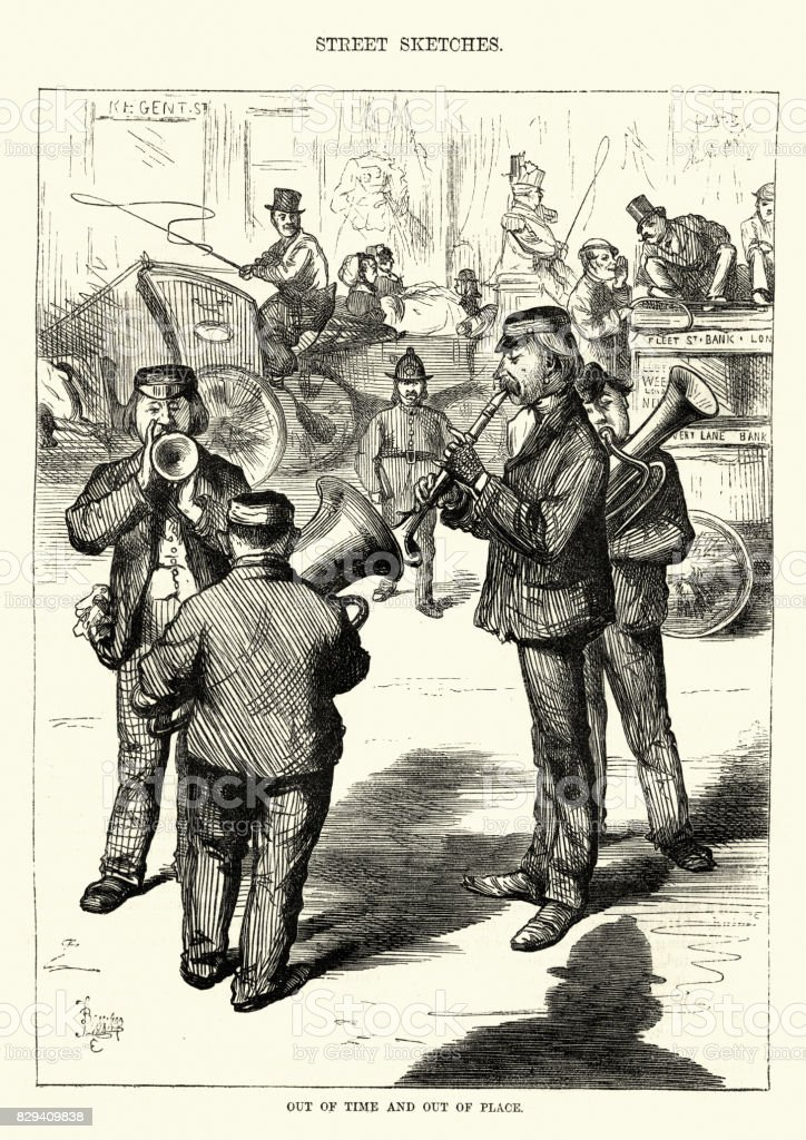 Victorian london street musicians about to be arrested for busking vector art illustration