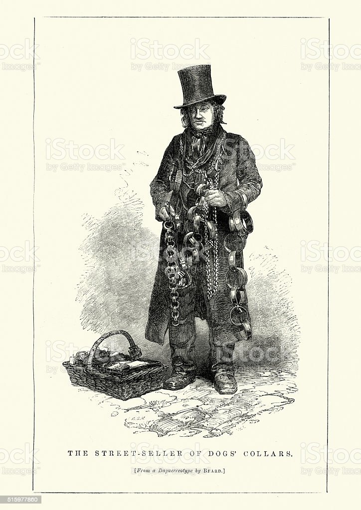 Victorian London - Street seller of dog collars vector art illustration