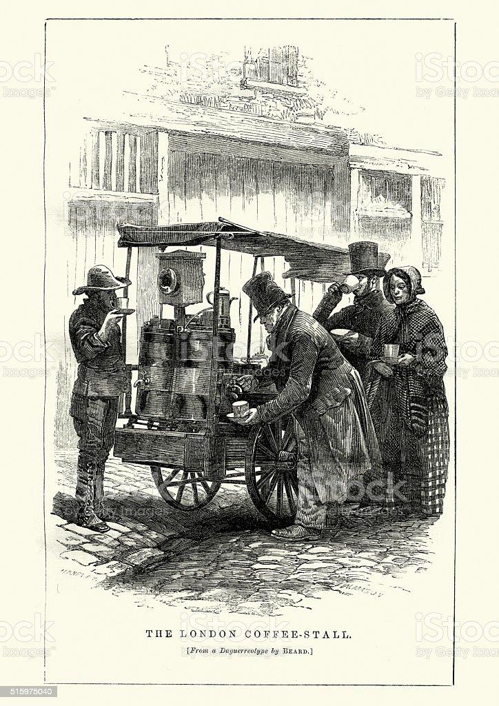 Victorian London - The Coffee stall vector art illustration