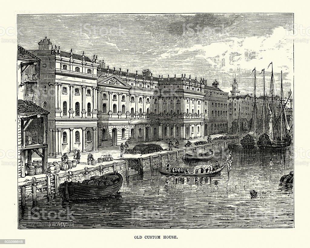 Victorian London - The Custom House vector art illustration