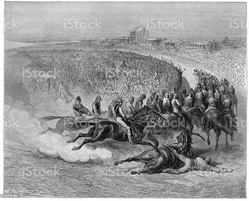 Victorian London - The Epsom Derby at Tattenham Corner royalty-free stock vector art