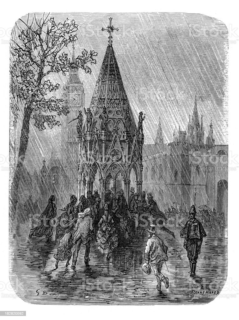Victorian London - The Fountain Broad Sanctuary royalty-free stock vector art