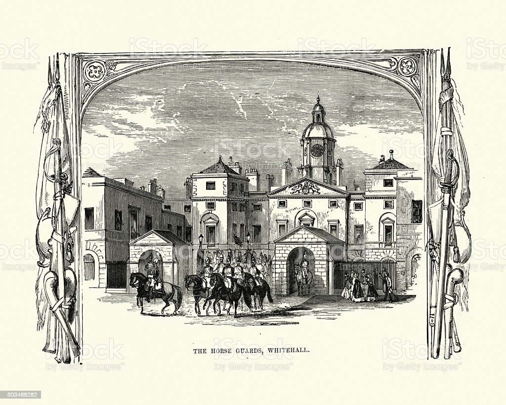 Victorian London - The Horse Guards at Whitehall vector art illustration