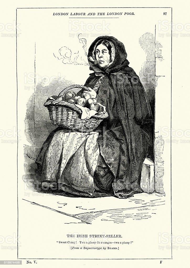 Victorian London The Irish Street-Seller vector art illustration