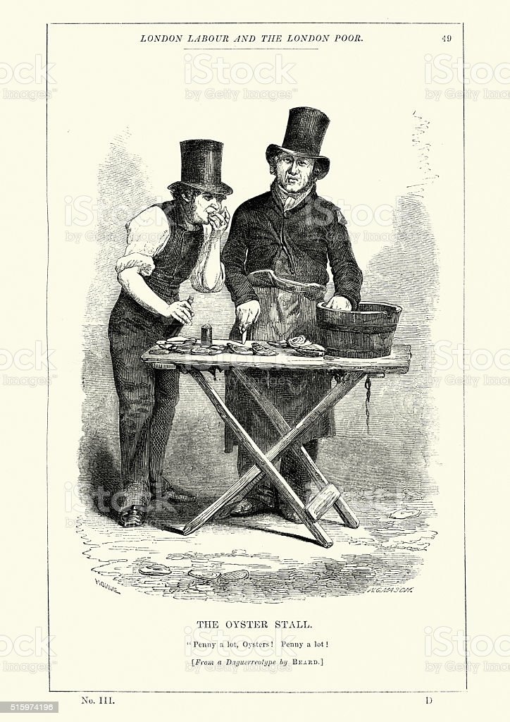 Victorian London - The Oyster Stall vector art illustration
