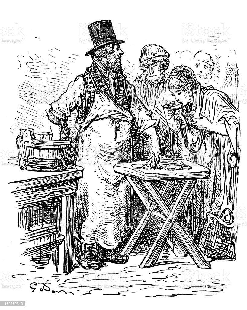 Victorian London - The Oysterman vector art illustration