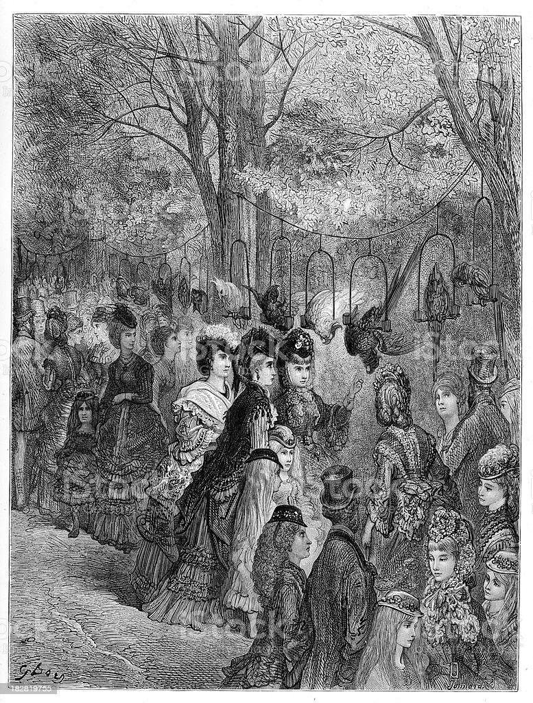 Victorian London - The Parrot Walk royalty-free stock vector art