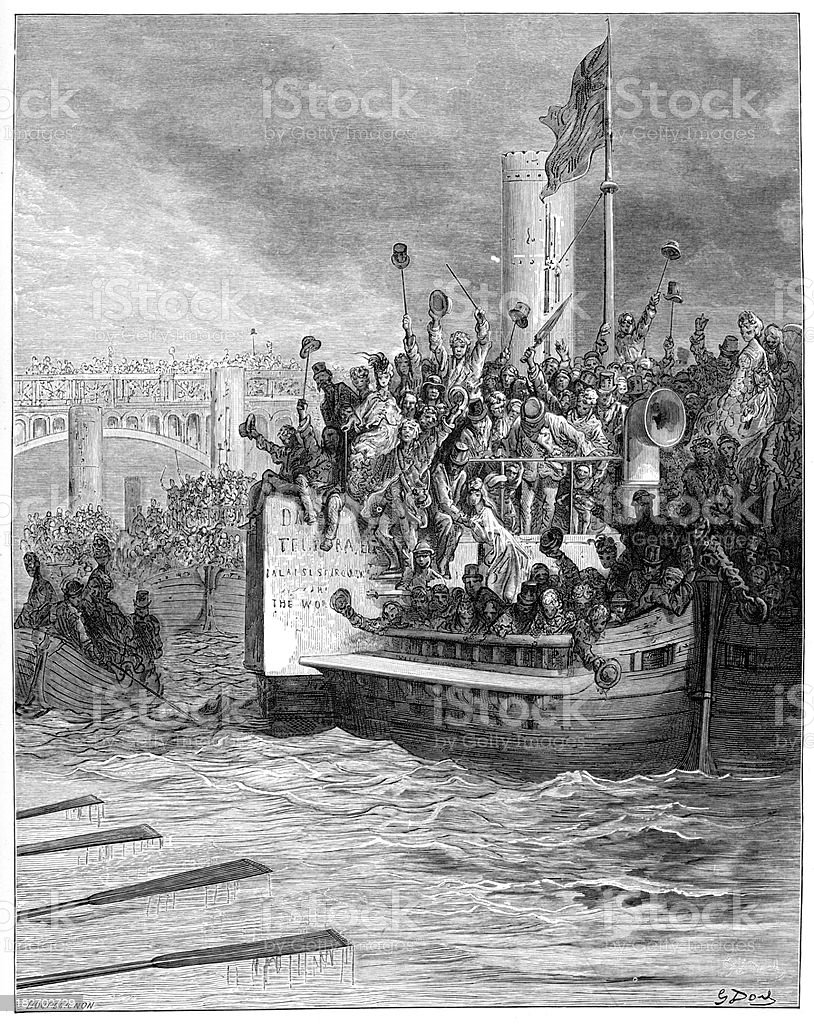 Victorian London - The Race vector art illustration