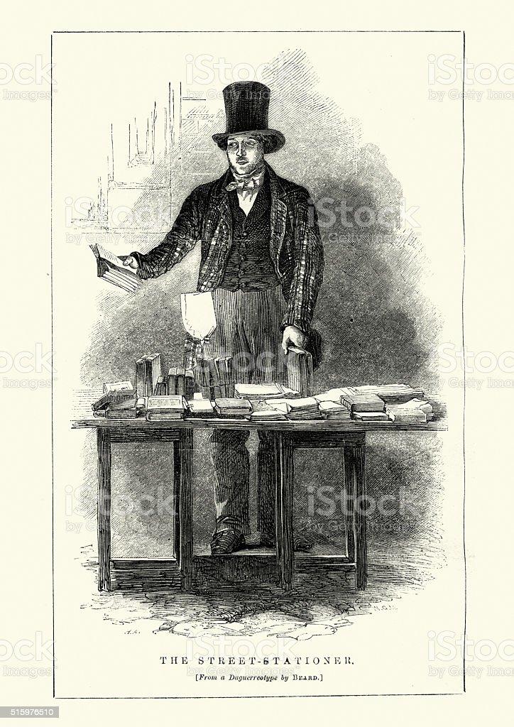 Victorian London - The Street Stationer vector art illustration