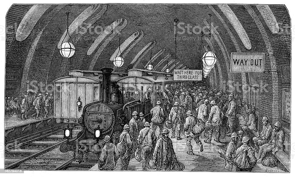 Victorian London - The workmen's train royalty-free stock vector art