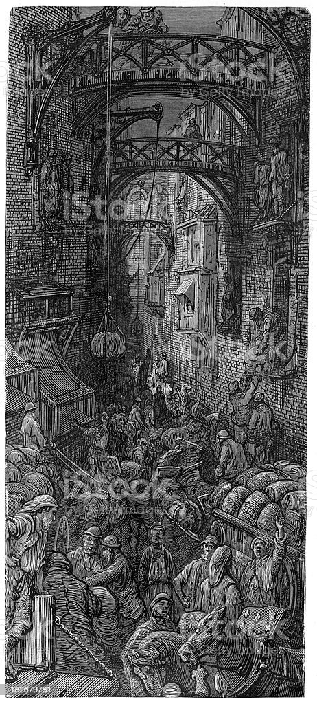 Victorian London - Tide of Business in the City royalty-free stock vector art