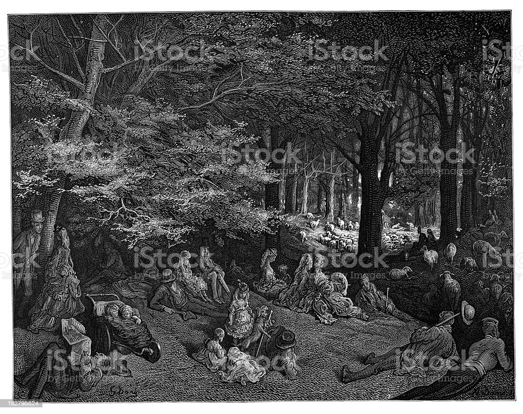 Victorian London - Under the Trees Regent's Park royalty-free stock vector art