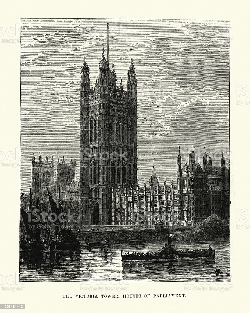 Victorian London - Victoria Tower, Houses of Parliament vector art illustration