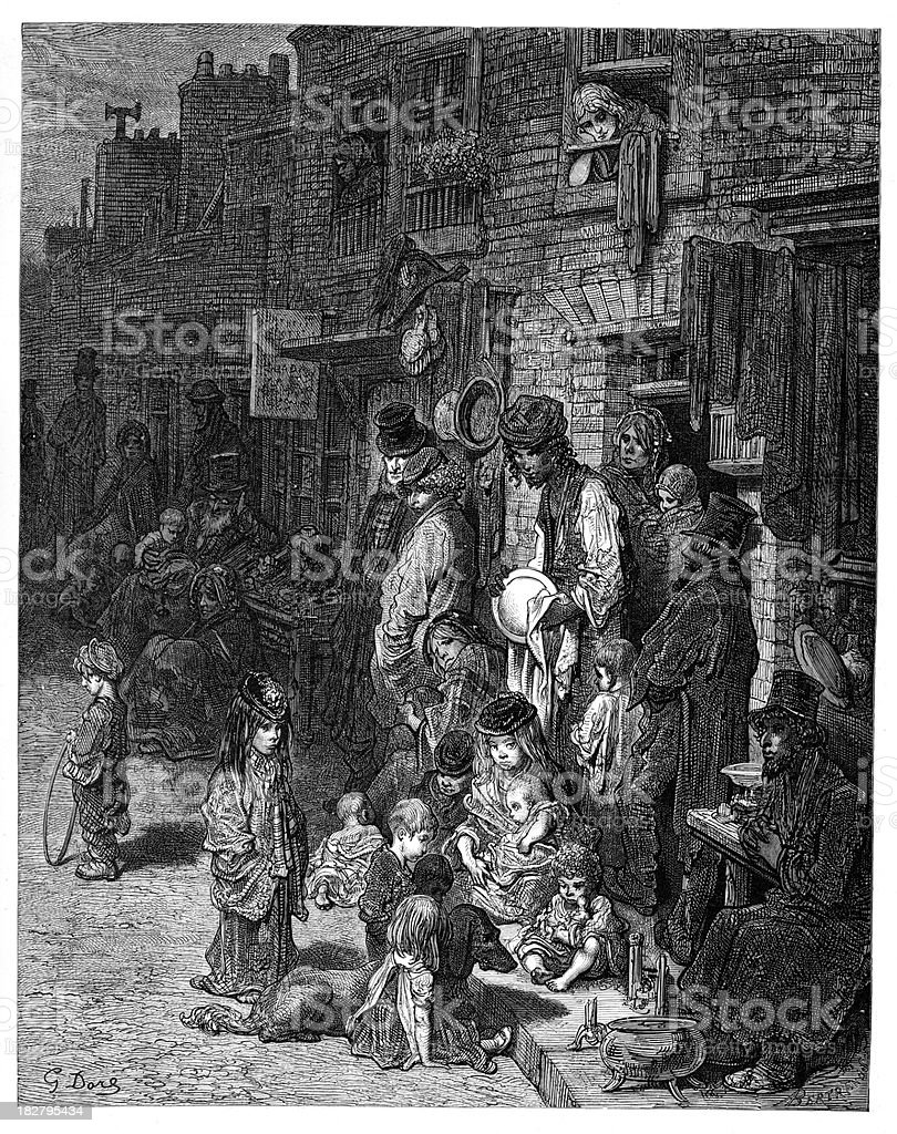 Victorian London - Wentworth Street Whitechapel vector art illustration