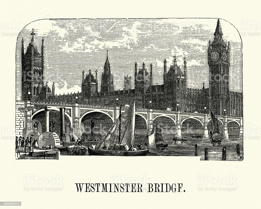 Victorian London - Westminster Bridge vector art illustration