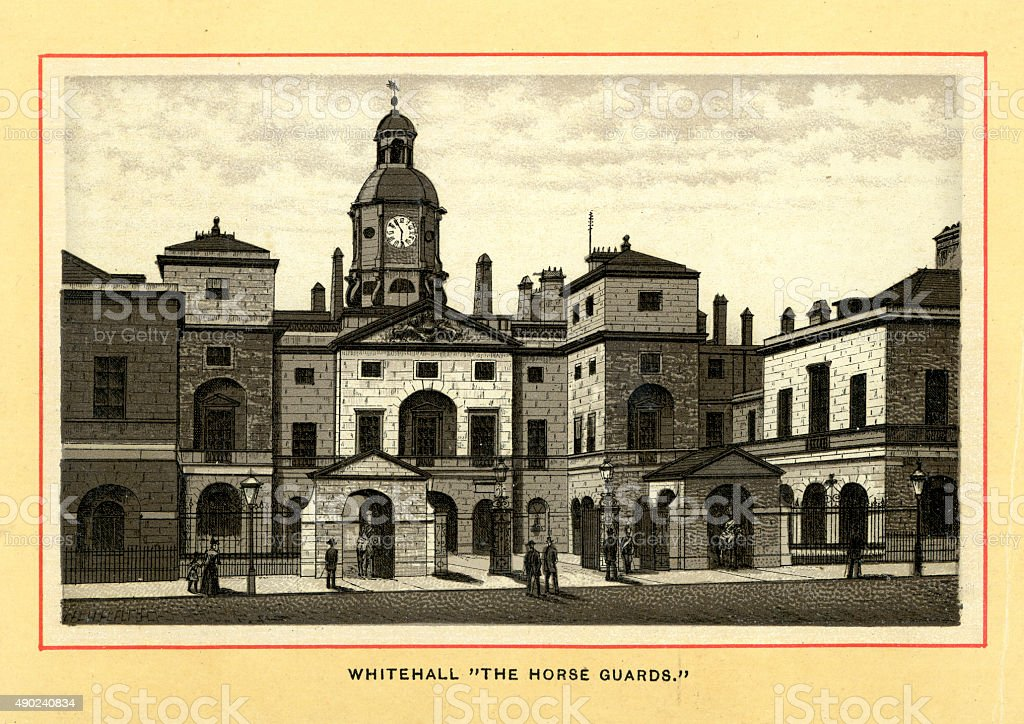 Victorian London - Whitehall, The Horse Guards vector art illustration