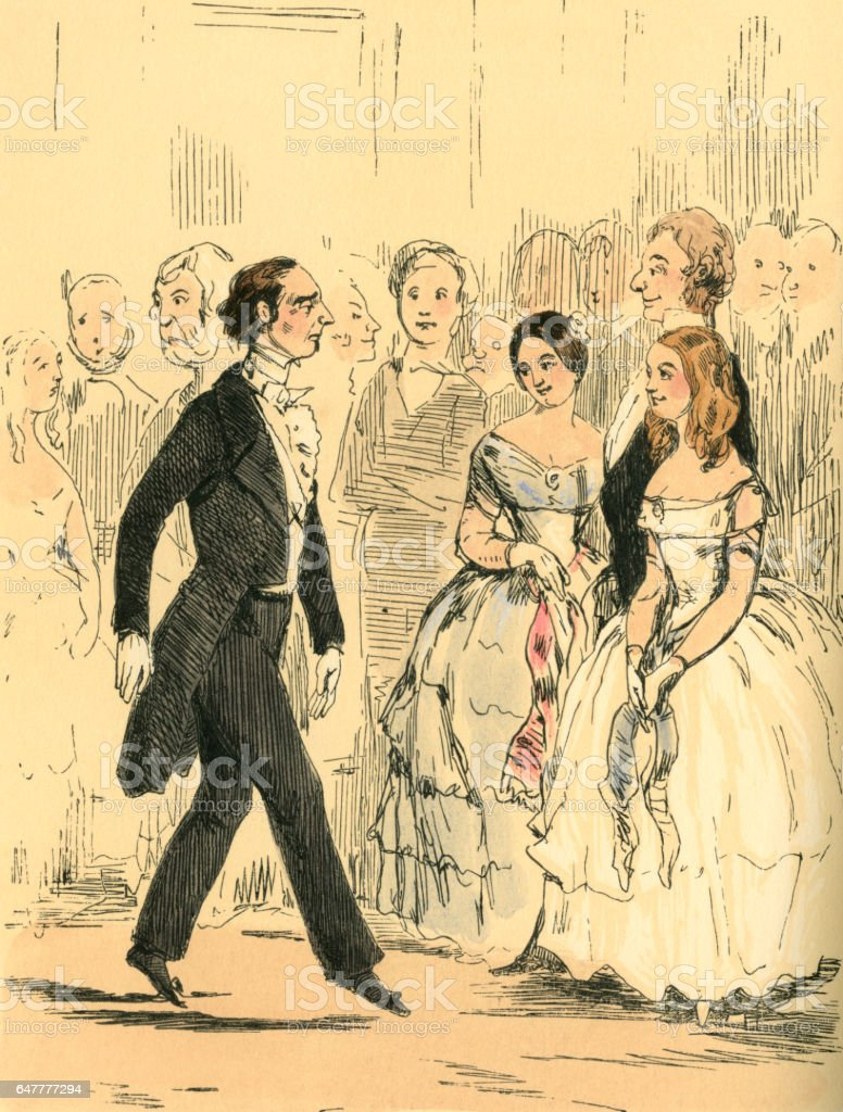 Victorian man about to ask a young lady to dance vector art illustration